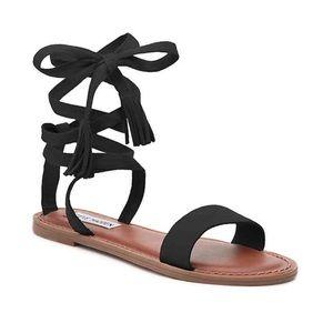 Steve Madden Black Suede Lace-up Sandals